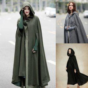 Long hooded wool cape coat (Tan)